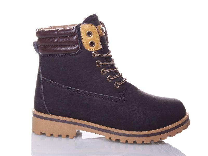 Ботинки зимние на шнуровке в стиле Timberland черные