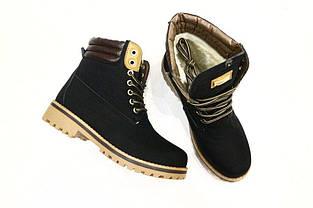 Ботинки зимние на шнуровке в стиле Timberland черные, фото 2