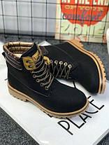 Ботинки зимние на шнуровке в стиле Timberland черные, фото 3
