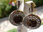 Серебряные серьги - подвески c агатом турителла