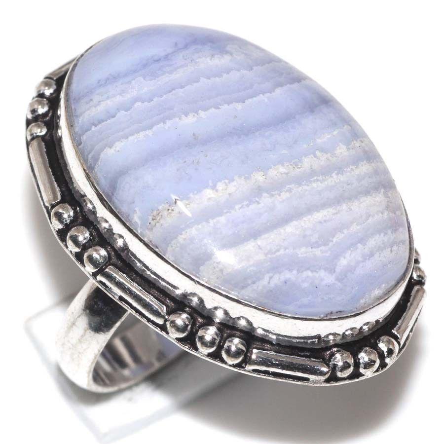 Кольцо с натуральным голубым агатом сапфирином в серебре. Кольцо овал с сапфирином. Размер 17,5 Индия