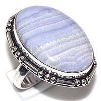 Кольцо с натуральным голубым агатом сапфирином в серебре. Кольцо овал с сапфирином. Размер 17,5 Индия, фото 1