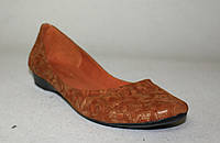 Балетки кожаные коричневое теснение