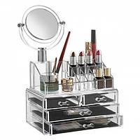 Настольный ящик органайзер для хранения косметики с зеркалом Storage Box