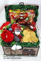 """Новогодняя подарочная композиция из сладостей и чая """"Сундук сюрпризов"""", фото 1"""