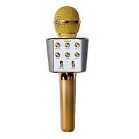 Беспроводной караоке микрофон с динамиком 5 тембров голоса WS-1688 USB AUX FM Золотой