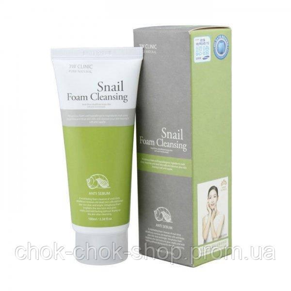 Пенка для умывания с фильтратом улиточной слизи 3W CLINIC Snail Foam Cleansing