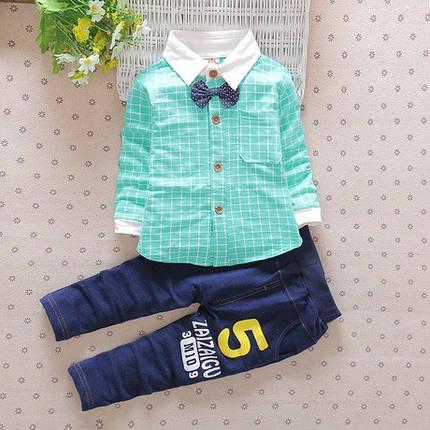 Нарядный костюм двойка на  мальчика  бирюзовый  рубашка с бабочкой, фото 2
