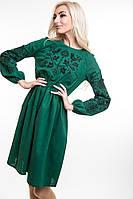 Современное платье вышиванка льняное зеленое