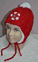 Зимова шапка-вушанка для дівчинки червона (AJS, Польща)