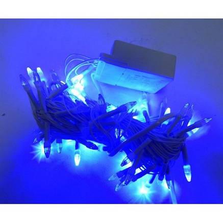 Гирлянда Нить LED 100, синий, белый провод + Подарок, фото 2