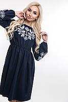 Льняное женское платье с вышивкой темно-синее