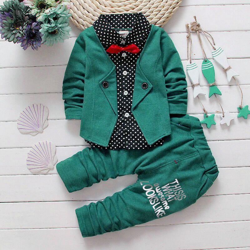 Нарядный костюм двойка для мальчиков зеленый в горошек 1-2 года
