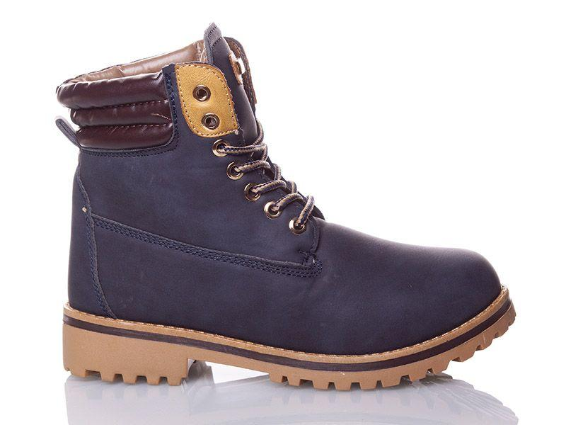Ботинки зимние на шнуровке в стиле Timberland темносиние