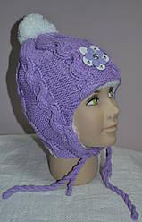 Зимова шапка-вушанка для дівчинки бузкова (AJS, Польща)