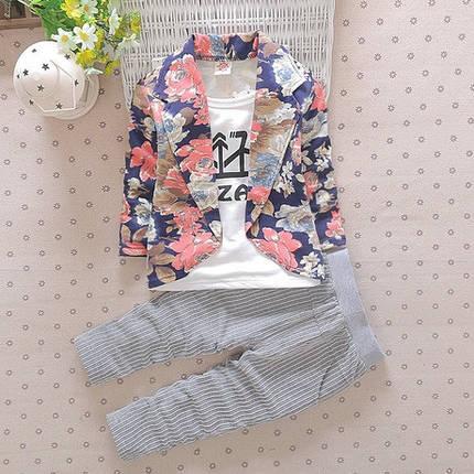 Нарядный костюм двойка для мальчиков цветочный пиджак серые штаны, фото 2