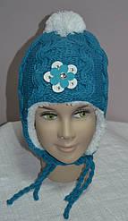 Зимова шапка-вушанка для дівчинки бірюзова (AJS, Польща)
