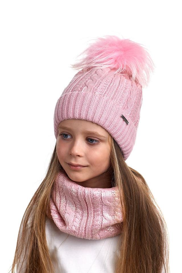 Комплект для девочки шапка и снуд с напылением Nikola