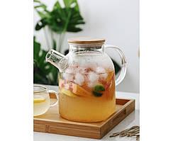 Заварочный стеклянный чайник с фильтром-пружинкой в носике, объем 1600 мл