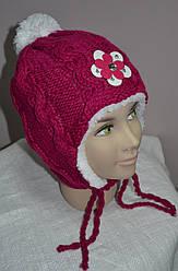 Зимова шапка-вушанка для дівчинки темно-рожева (AJS, Польща)