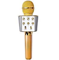 Безпровідний мікрофон караоке з динаміком 5 тембрів голосу і запис USB, AUX FM WS-1688 у чохлі Золотий