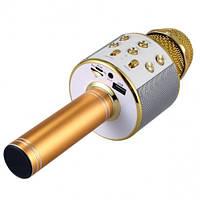 Безпровідний мікрофон караоке з динаміком і радіо MP3 Bluetooth USB WS-858 в чохлі Золотий