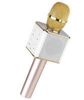 Беспроводной микрофон Караоке с динамиком и USB входом Bluetooth Q7 в чехле Золотой