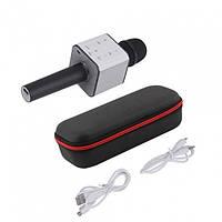 Бездротовий мікрофон Караоке з динаміком і USB входом Bluetooth Q7 в чохлі Чорний