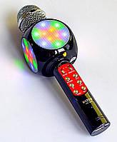 Бездротовий мікрофон Караоке з динаміком і світломузикою USB, AUX Wster WS-1816 в чохлі Чорний