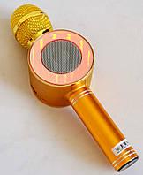 Колонка з функцією Караоке Мікрофон Bluetooth USB, AUX WS-668 в чохлі Золото