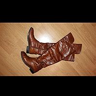 Красивые ботфорты, высокие сапоги (евро-утепление), светло-коричневого цвета, фото 1