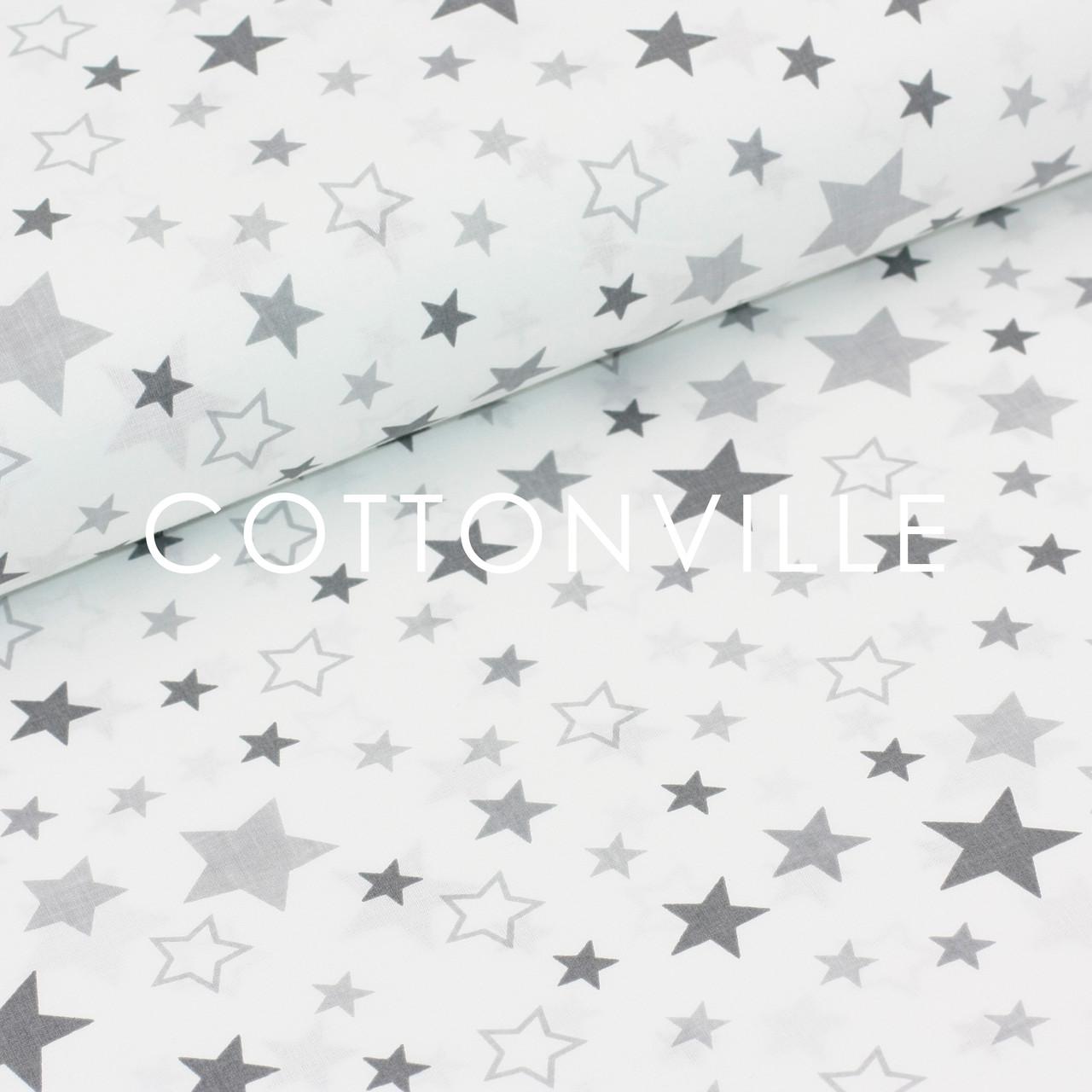 ✁ Отрезы поплина Звездопад серый на белом