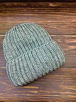 Шапка вязаная с тёплым флисом зимняя женская серая , фото 1