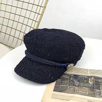 Женский картуз, кепи, фуражка драповая с канаткой синий, фото 1