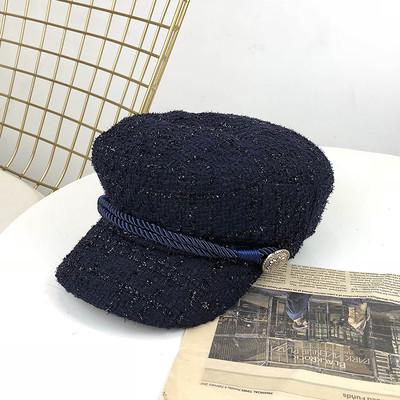 Женский картуз, кепи, фуражка драповая с канаткой синий