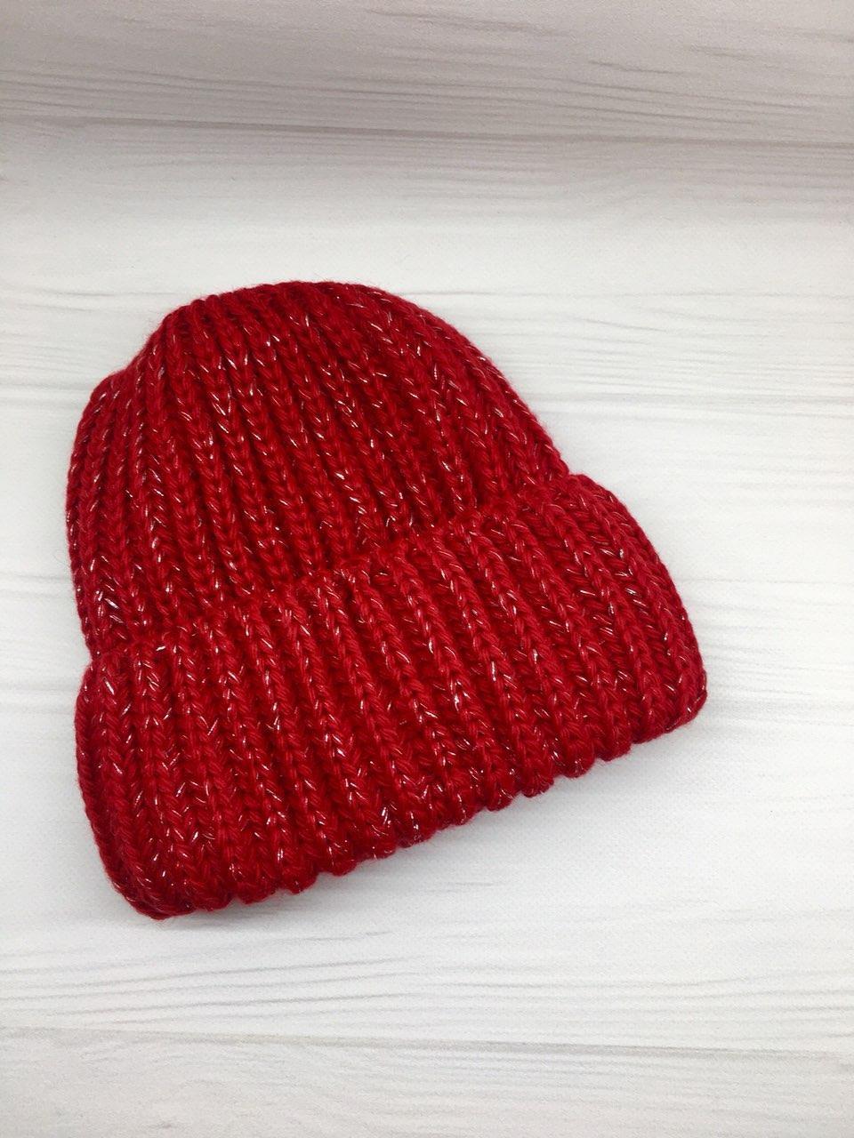 Шапка вязаная с тёплым флисом зимняя женская красная
