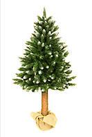 Алмазная искусственная новогодняя елка на натуральном стволе 160 см + гирлянда в подарок