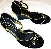 Туфельки женские бархатные с бантиком, фото 1