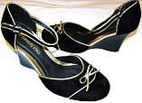 Туфельки женские бархатные с бантиком, фото 4
