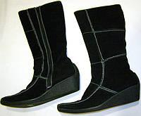 Сапоги замшевые  черные с отделкой 39 р, фото 1