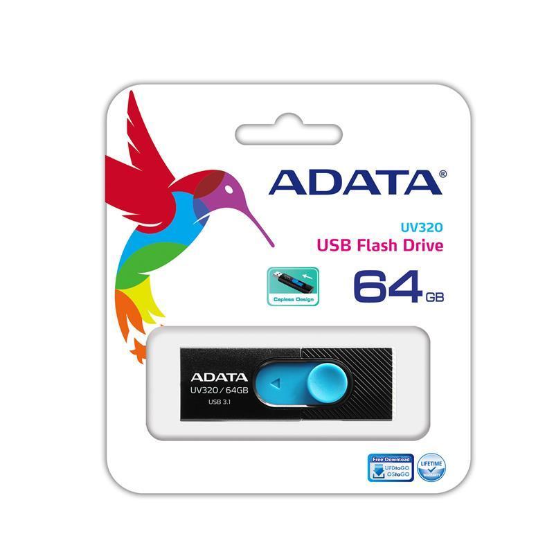 Накопитель ADATA 64GB USB 3.1 UV320 Black/Blue