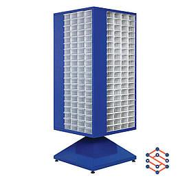 Поворотный металлический шкаф с пластиковыми лотками 630х630х1700 мм