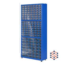 Односторонний металлический шкаф с пластиковыми лотками 810х210х1600 мм
