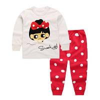Пижама футболка с длинными рукавами и штаны Linkcard Кукла рост 90 см белая+красная 06113