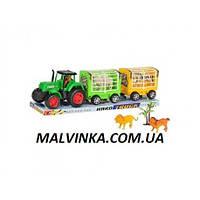 Трактор 906-104   инер-й, 42,5см, с прицепом, животные 4шт, микс видов, в слюде, 43,5-13-10-см