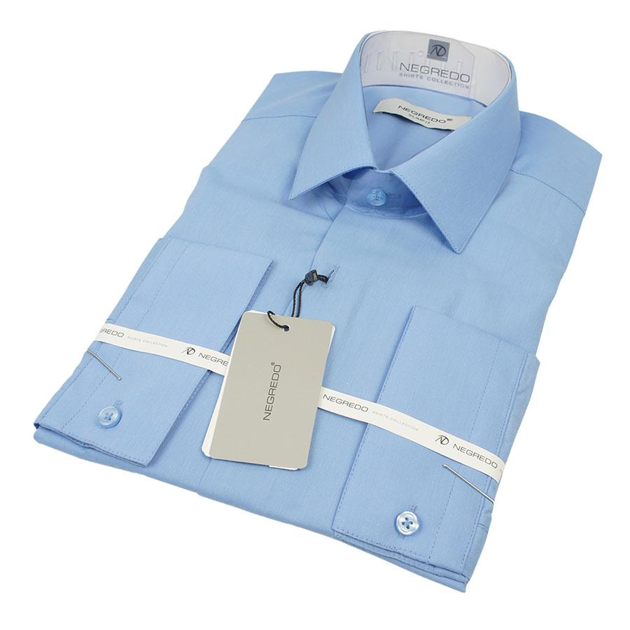 Приталенная мужская рубашка Negredo 30092 Slim синего цвета