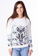 Женский вязаный свитер белого цвета «Абстракция», фото 1