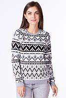 Вязаный свитер с геометрическими орнаментами для женщин, фото 1