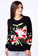 Черный женский вязаный свитер с цветочным орнаментом, фото 1