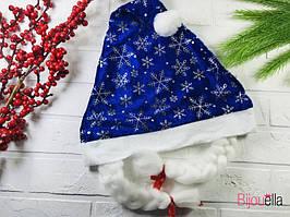 Новорічний ковпак Снігуронька з косами, прикрашений сніжинками
